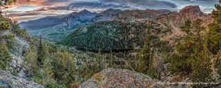panorama, rocky mountain national park, sunrise, longs peak, colorado