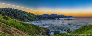 panorama, ecola state park, Washington, sunrise, ocean