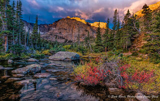 loch. sunrise, storm clouds, rocky mountain national park. fall