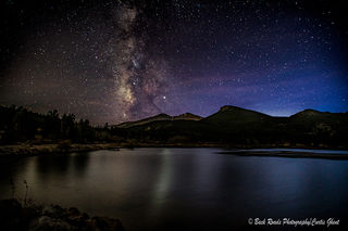 Liley lake, longs peak, milky way