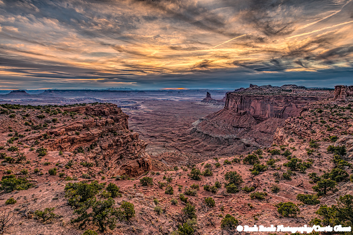 Sunset clouds in Canyonlands.