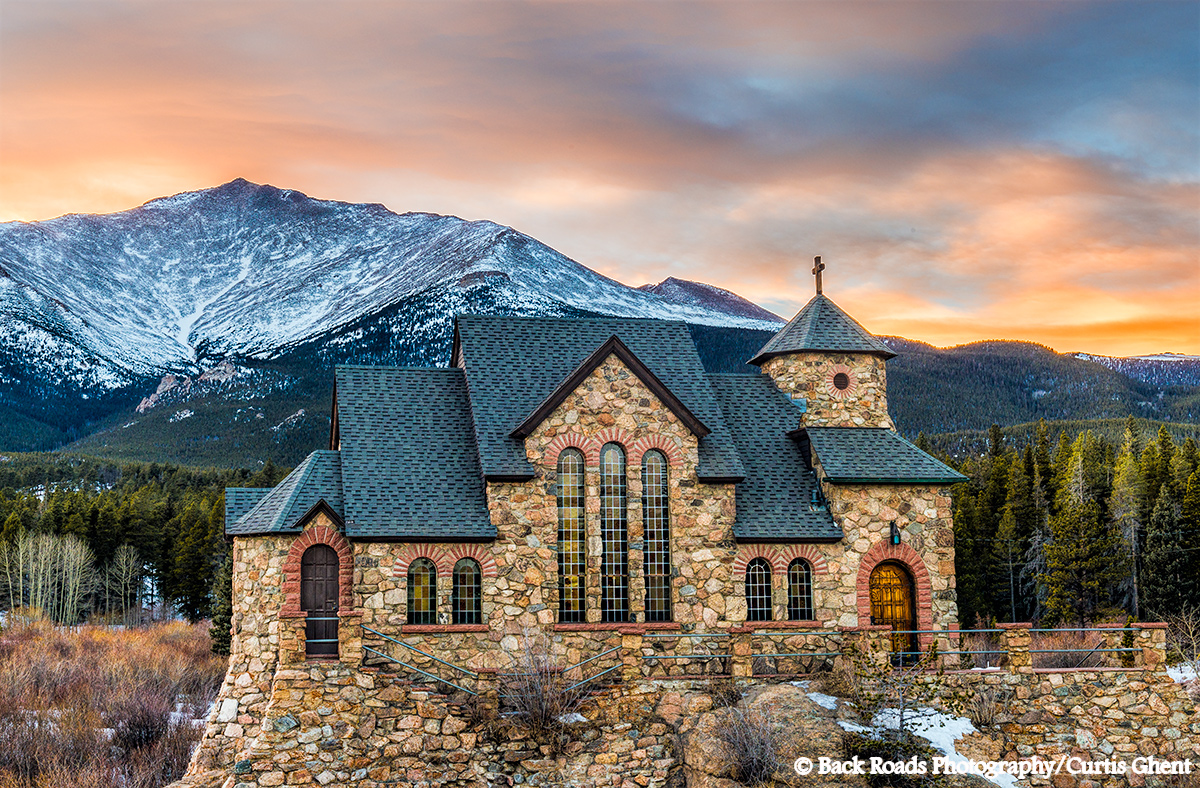 Sunset, Chapel, Mt. Meeker, photo
