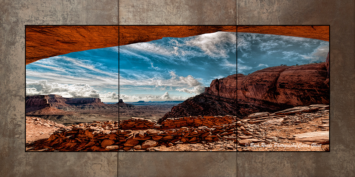 These images are divided in the three section and laminated onto a piece of oxidized porcelain tile. The images is covered with...