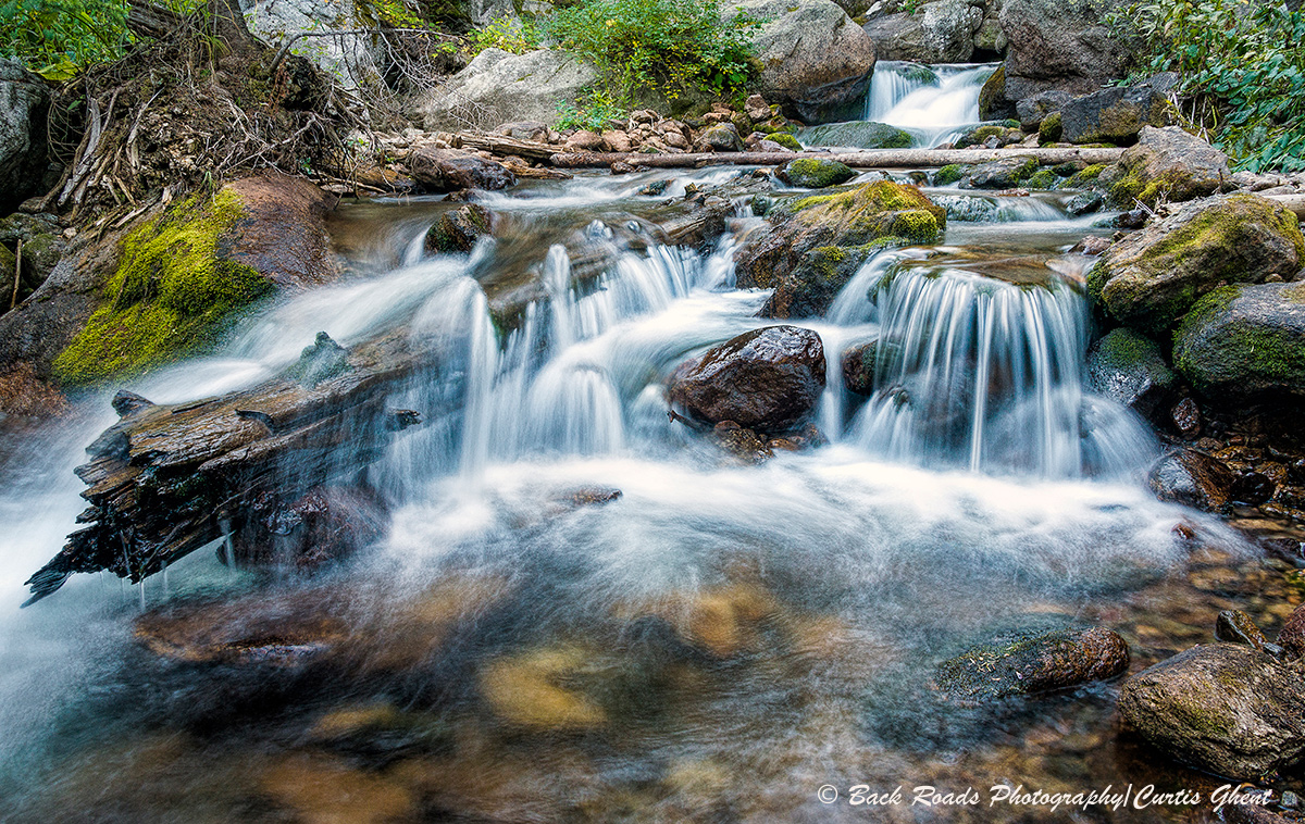 This small water cascade in the back country of Rocky Mountain National Park was a most welcome bonus for the day,
