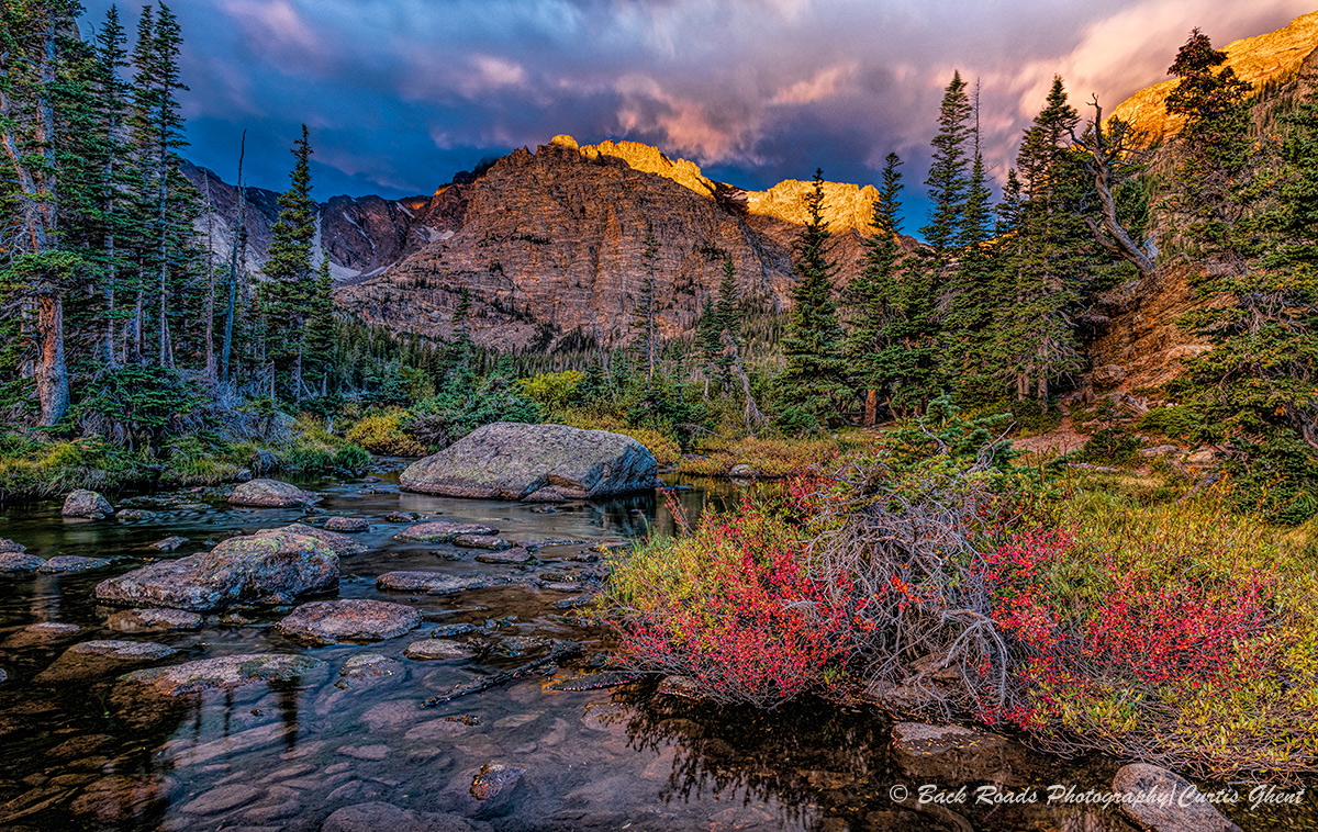 loch. sunrise, storm clouds, rocky mountain national park. fall, photo