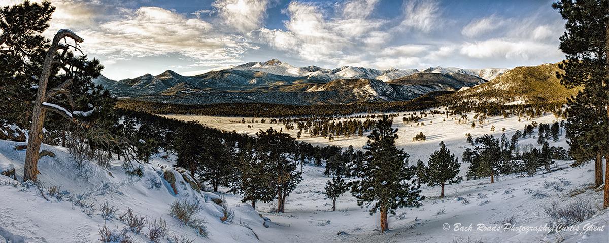 panorama, longs peak, rocky mountain national park, winter, sunrise, photo