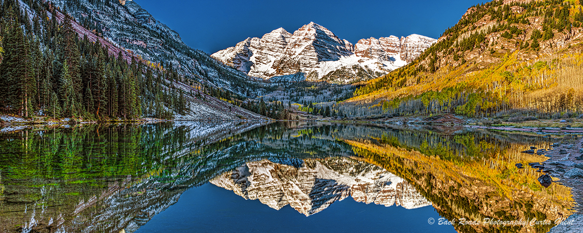 panorama, maroon bells, Colorado, fall, photo