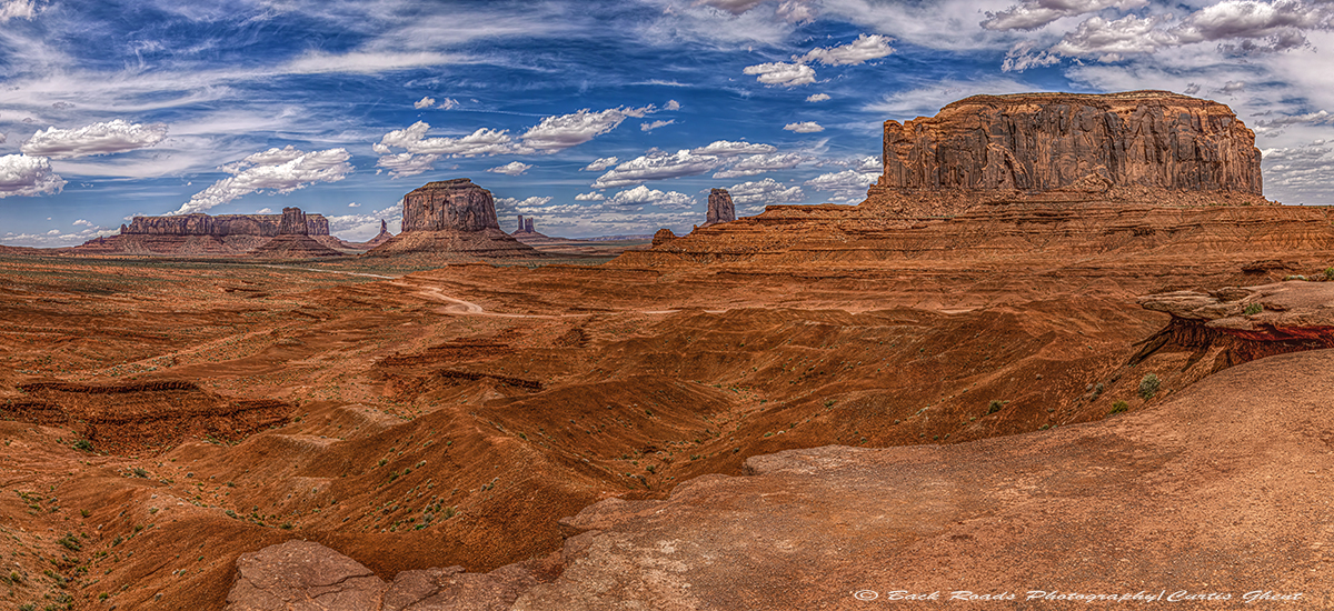 Perfect day in Monument Valley, no wind, puffy clouds and blue skies.  Taken from John Ford Point.