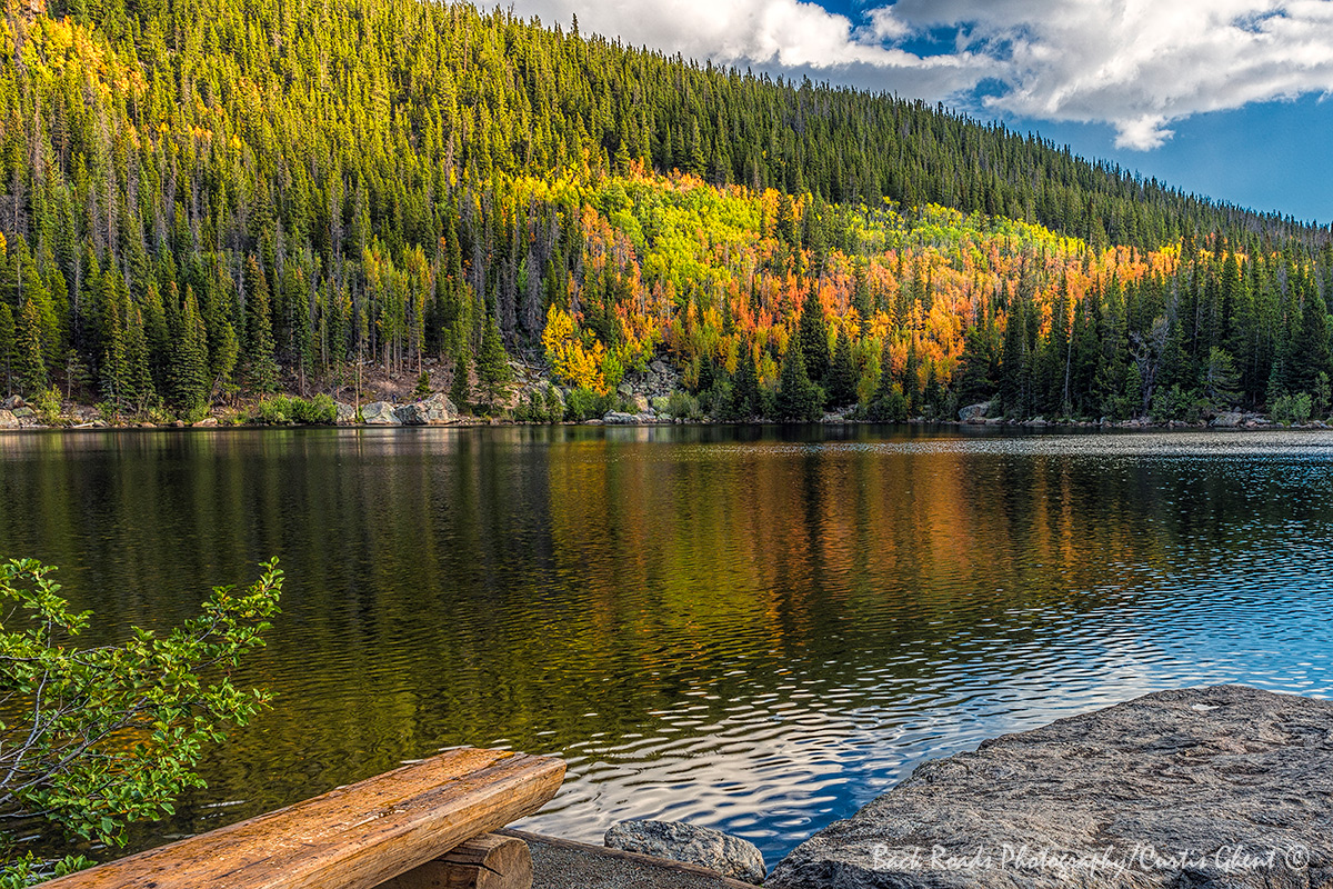On a beautiful day this bench on the south shore of Bear Lake is perfect for viewing the fall color.
