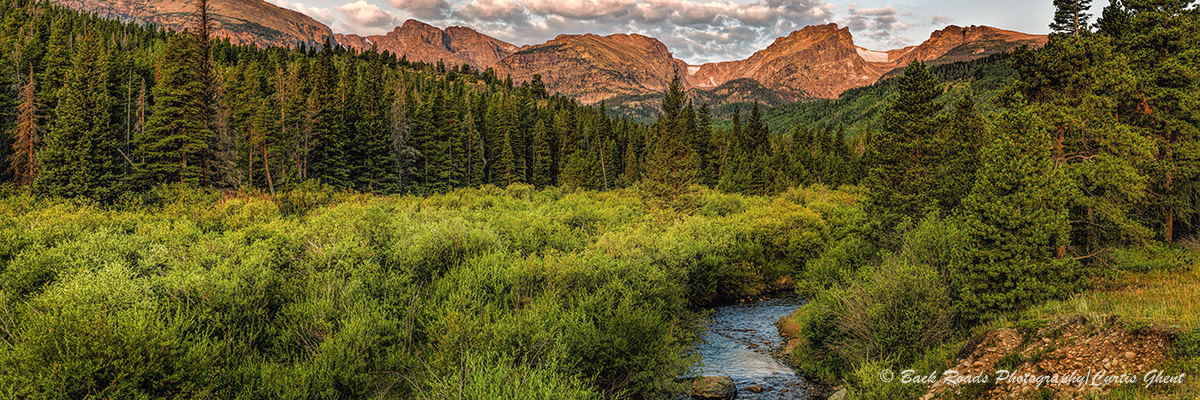 panorama, rocky mountain national park, sunrise, colorado, photo