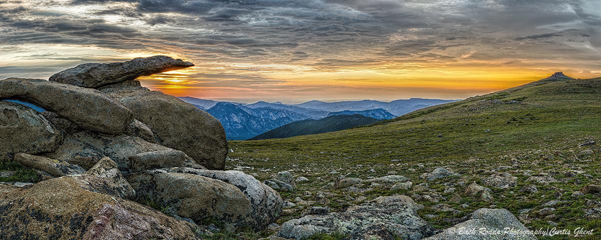 panorama, rocky mountain national park, sunrise